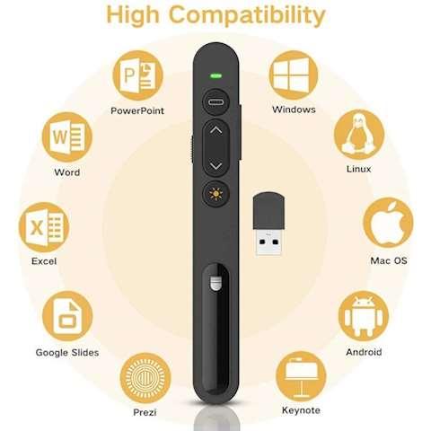 პრეზენტერი Doosl DSIT0011 Wireless Presenter 2.4GHz Powerpoint Presentation Remote Control