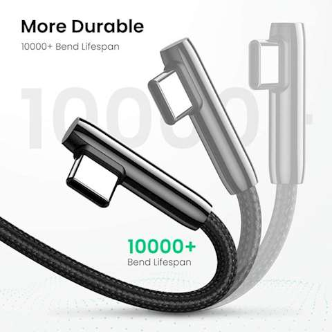 USB კაბელი UGREEN US313 (70415) USB 2.0-A to Angled USB-C Cable Zinc Alloy Shell with Braided 2m (Black)