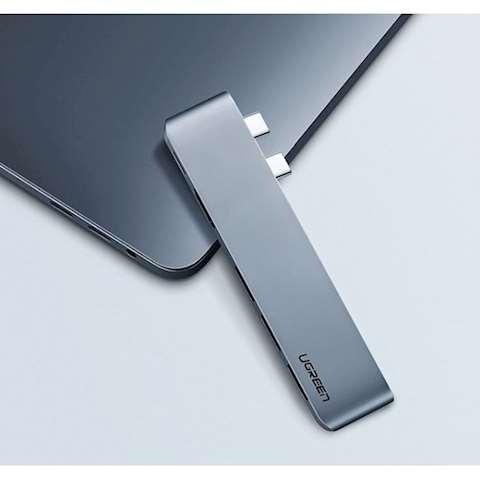 ადაპტერი UGREEN CM251 (60559) Dual USB-C to HDMI+ 3 USB 3.0 + Type C female + PD Converter Gray for MacBook