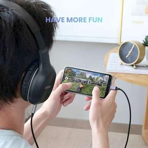 აუდიო კაბელი UGREEN AV143 (30633) Round Type-C to Aux USB-C Audio Cable 3.5mm Aluminum Shell 1m (Deep Gray)