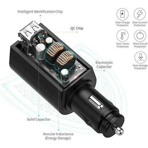 მანქანის USB დამტენი UGREEN CD166 (40736) Dual Port Car Charger with Expansion Sockets 2.4A + QC3.0