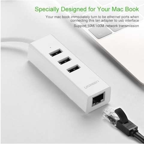 USB ჰაბი და ქსელის ადაპტერი UGREEN 20792 USB 2.0 Type C Combo (White) 4 Port HUB with Ethernet