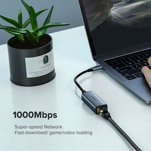 USB ქსელის ადაპტერი UGREEN CM199 (50737) USB Type C to 10/100/1000M Ethernet Adapter (Space Gray)