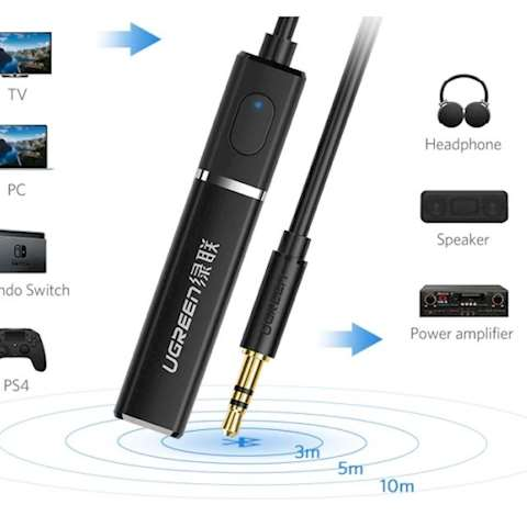 აუდიო ადაპტერი UGREEN CM107 (40761) Bluetooth 4.2 Receiver Audio Adapter with 3.5mm (Black)