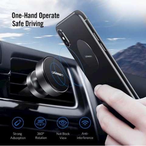 ტელეფონის მაგნიტური სამაგრი მანქანისთვის UGREEN LP117 UGREEN Air Vent Mount Magnetic Phone Holder 360 Degree Mobile Phone Air Vent Stand Holder for iPhone 7/6 Samsung S8 Smartphone Stand(Space Gray)
