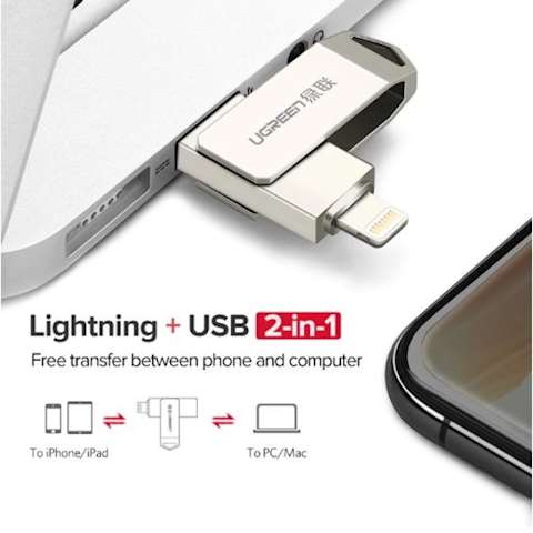 USB ფლეშ მეხსიერება Ugreen US200 (30616) USB Flash Drive 32 GB For iPhone X 8 7 6 5 USB 3.0 Lightning Pen Drive Apple MFi U Disk for iOS 11 memory stick 128 GB USB Flash Drive Pendrive