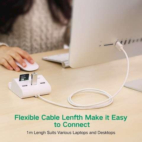 USB ჰაბი + ბარათის წამკითხველი UGREEN US156 (30344) UGREEN USB 3.0 3 Ports Hub + Card Reader with Cradle 1m