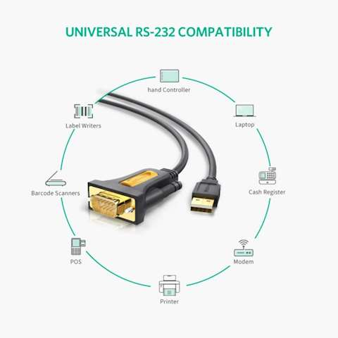 ადაპტერი UGREEN CR104 (20222) USB to DB9 RS-232 Adapter Cable 2m