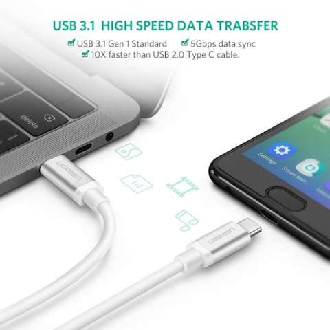 USB კაბელი UGREEN US161 (10682) USB 3.1 Type C Male to Type C Male Cable Nickel Plating Aluminum Shell 1.5m (White)