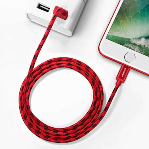 USB კაბელი UGREEN US247 (40479)USB Lightning Cable 1m (Red)