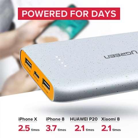 პორტატული დამტენი UGREEN PB107 (40969) 10000mAh Power Bank 2x USB-A + Micro USB (Gray)