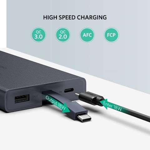 პორტატული დამტენი UGREEN PB108 (40972) 10000mAh Power Bank with Type C Cable (Blue)