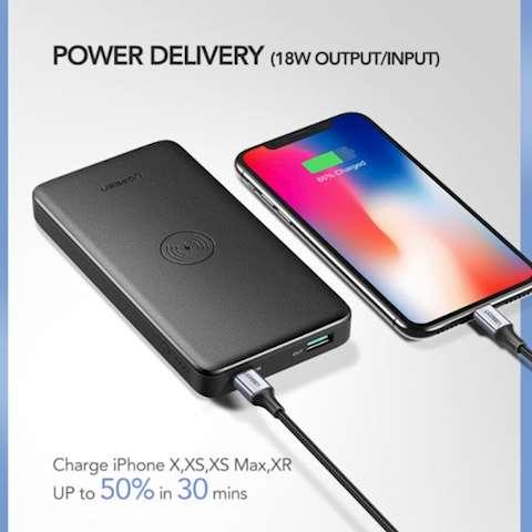 პორტატული სწრაფი დამტენი UGREEN PB124 (50578) 10000mAh Power Bank with Wireless Charging Pad (Black)