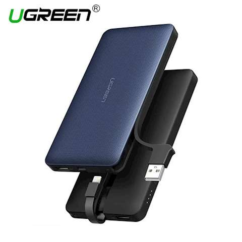პორტატული დამტენი UGREEN PB104 (40906) 10000mAh Power Bank with Lighting Cable (Jazz Blue)
