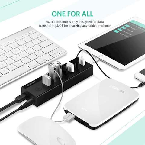 USB ჰაბი UGREEN US219 (30845) 7 Port USB 3.0 Hub (Black)