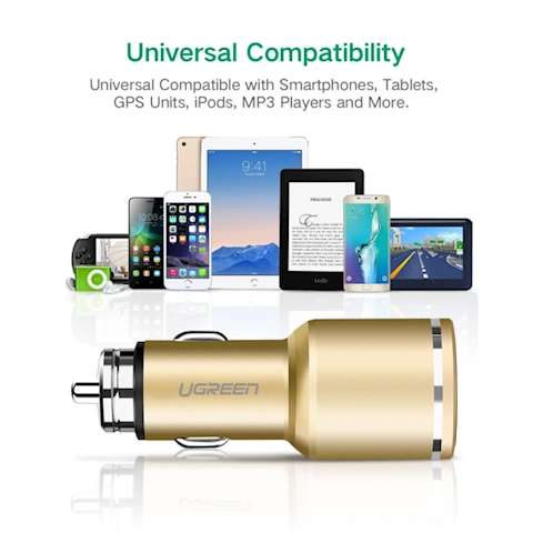 მანქანის დამტენი UGREEN CD130 (30514) Dual USB Car Charger QC3.0 (Gold)