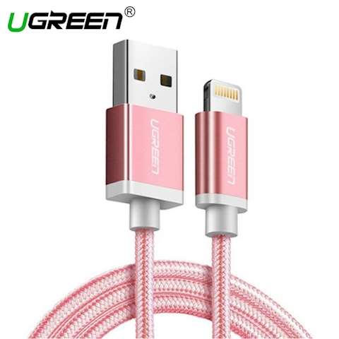 USB კაბელი UGREEN US199 (30590) Lightning to USB Cable Alu Case with Braided 1m (Rose Gold)