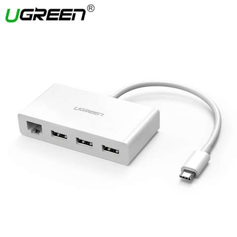 USB ჰაბი + ადაპტერი UGREEN US237 (40382) USB Type-C to 3-Port Hub +10/100Mbps Ethernet Adapter