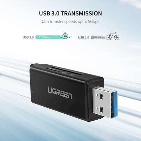 ბარათის წამკითხველი + მეხსიერების ბარათი UGREEN CM104 (40752) USB 3.0 to TF + SD Dual Card Reader (Black)