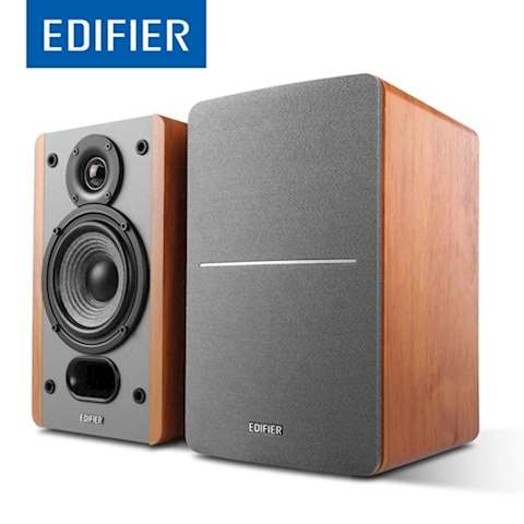 პასიური სტუდიური მონიტორი დინამიკი Edifier P12 Passive Bookshelf Speakers - 2-Way Speakers with Built-in Wall-Mount Bracket - (brown) Wood Color, Pair