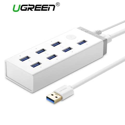 USB ჰაბი UGREEN CR116 7 Ports 3.0 USB HUB Power adapter White 20647