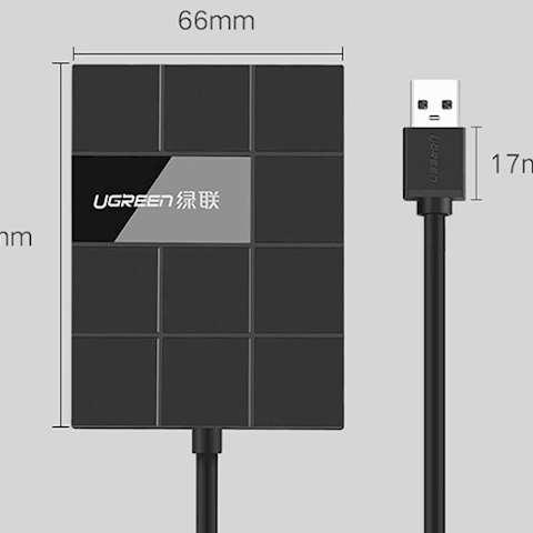 USB ჰაბი UGREEN US220 USB 3.0 Card Reader with 3-Port Hub