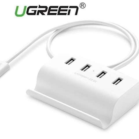 USB ჰაბი UGREEN CR123 USB 2.0 4 Port HUB 1m White micro usb port for usb power splitter switcher Cable Adapter for PC / laptop