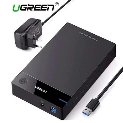 მყარი დისკის ქეისი UGREEN US222 USB 3.5 Inch HDD Enclosure SSD SATA USB 3.0 power Adapter