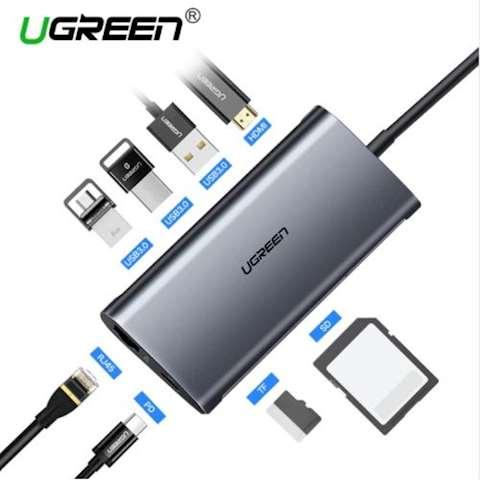 ადაპტორი UGREEN CM121 USB C Hub Type C Adapter 3.1 HDMI VGA, Power Delivery Charging, Gigabit Ethernet Port, 3 USB 3.0 Ports, Micro SD Card Reader ,USB-C to 3*USB3.0+HDMI+RJ45+SD&TF converter