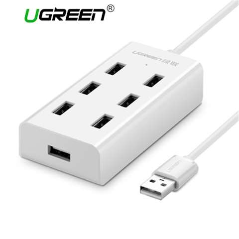USB ჰაბი UGREEN CR130 USB HUB 7 Ports and Connectors High Speed 480 Mbps Usb 2.0 Hub Splitter with Micro Usb Charging Interface for Macook Laptop Usb 2.0 Hubs 7 Ports USB 2.0 HUB White 1M