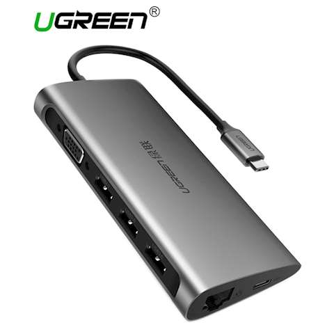 ადაპტერი UGREEN CM147 Type-C adapter - VGA Full HD 60Hz, 3 x USB 3.0, Ethernet with SD card reader and MicroSD Ugreen CM147 with Type-C powered gray