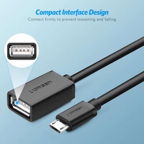 USB კაბელი UGREEN 10396 US133 Micro USB to USB Female OTG Cable