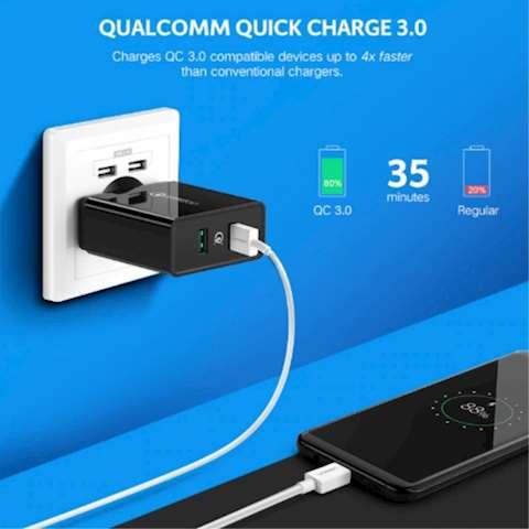მობილურის სწრაფი დამტენი Ugreen Quick Charge 5V/3A 30W QC 3.0 USB Charger 2 USB port Black