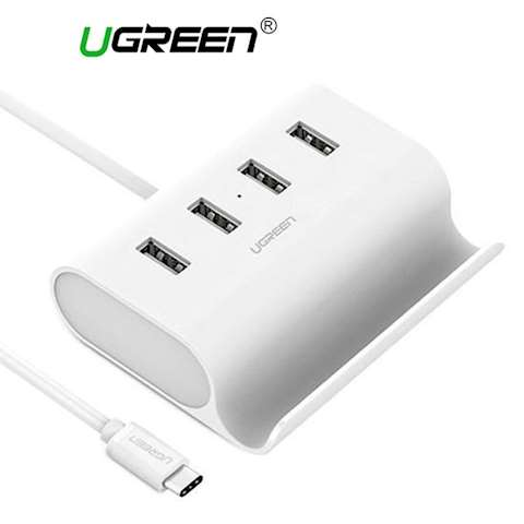 USB ჰაბი UGREEN 30288 USB-C to 4-Ports USB 2.0 Hub 0.5m (White)