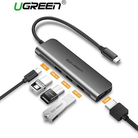 ადაპტერი UGREEN CM136 USB Type C to HDMI + USB 3.0*3 + PD Power Converter