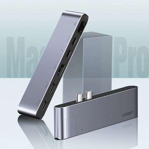 ადაპტერი UGREEN CM218 Apple MacBookPro laptop accessories dock USB Type C to HDMI Converter RJ45