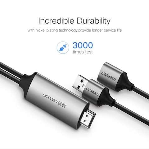 ადაპტერი UGREEN CM151 USB to HDMI Digital AV Adapter 1.5m (Gray)