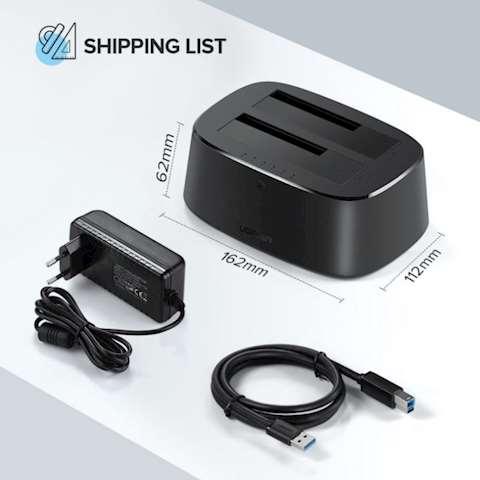 მყარი დისკის წამკითხველი UGREEN CM198 USB 3.0 to SATA Dual-Bay Hard Drive Docking Station