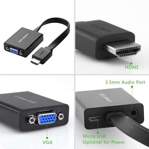 HDMI გადამყვანი UGREEN MM103 HDMI to VGA Converter 25cm (Black)