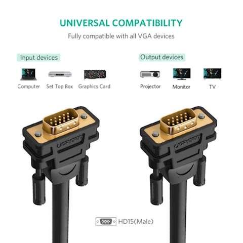 VGA კაბელი UGREEN VG101 VGA Male to Male Cable 1m (Black)
