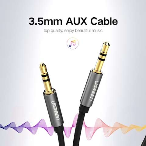 AUX კაბელი UGREEN AV119 3.5mm Male to 3.5mm Male Cable 2m (Black)