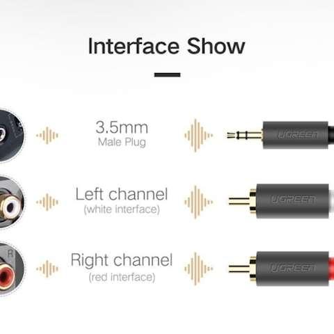 AUX კაბელი UGREEN AV102 3.5mm Female to 2 RCA Male Audio Cable 1m (Gray)