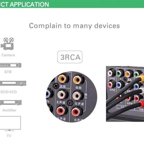 RCA კაბელი UGREEN AV105 3RCA Male to 3RCA Male Cable 1.5m (Black) 0 კომენტარი FacebookTwittergoogle_plusLinkedInVKOdnoklassniki