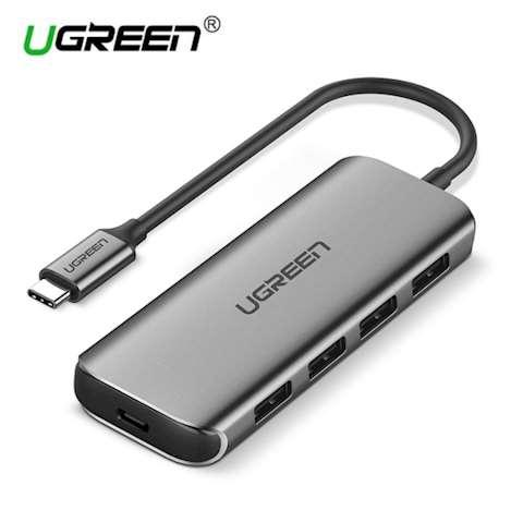 ადაპტერი UGREEN Type C USB 3.1 Hub Adapter with 4 USB 3.0 PD Charging Ports