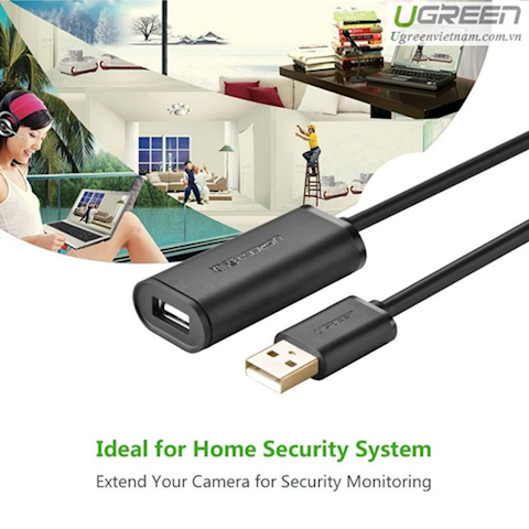 USB დამაგძელებელი Ugreen US121 USB 2.0 Active Extension Cable with Chipset 20m (Black)