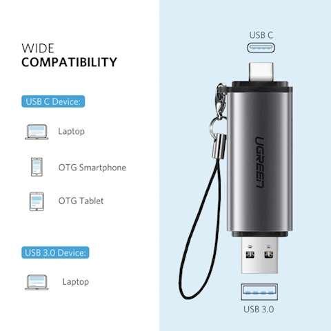 უნივერსალური ბარათების წამკითხველი Ugreen 50706 Card Reader USB 3.0 SD/Micro SD TF OTG Smart Memory Card Adapter for Laptop USB 3.0 Type C Cardreader SD Card Reader