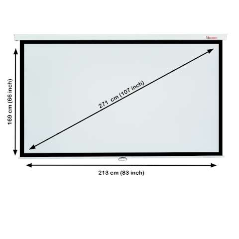 პროექტორის ეკრანი ALLSCREEN MANUAL PROJECTION SCREEN 213X169CM 16:9 HD FABRIC CWP-213169 Diagonal 107 inch / 271 CM