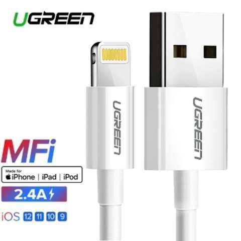 მობილურის დამტენი Ugreen USB Cable for iPhone Xs Max XR 2.4A MFi Lightning USB Fast Charging Cable for iPhone X 8 7 Mobile Phone USB Charger Cord